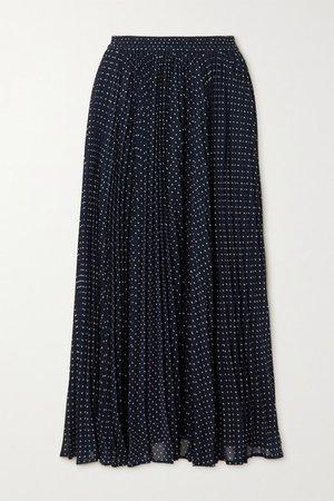 Pleated Polka-dot Georgette Midi Skirt - Navy