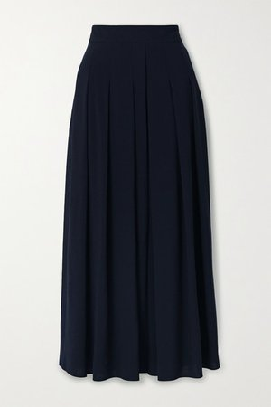 Pleated Wool-crepe Midi Skirt - Midnight blue