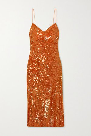 Delirium Sequined Chiffon Midi Dress - Orange