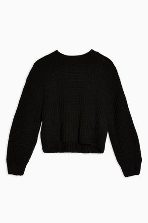 Black Knitted Cropped Jumper With Wool | Topshop