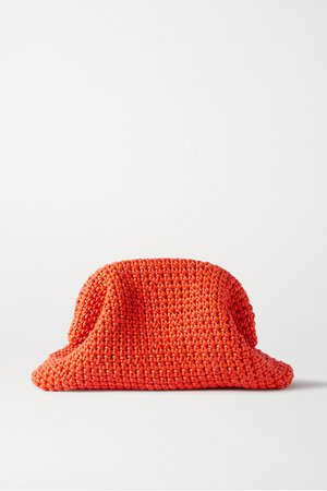 Orange The Pouch large crocheted leather clutch | Bottega Veneta | NET-A-PORTER