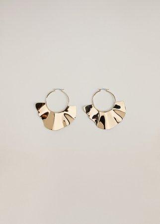 Embossed hoop earrings - Women | Mango USA