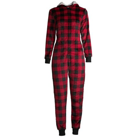 red Jolly Jammies - Matching Family Christmas Pajamas Women's and Women's Plus Buffalo Plaid Union Suit - Walmart.com - Walmart.com