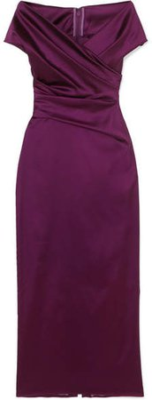 Tokara Off-the-shoulder Ruched Stretch Duchesse-satin Midi Dress - Grape
