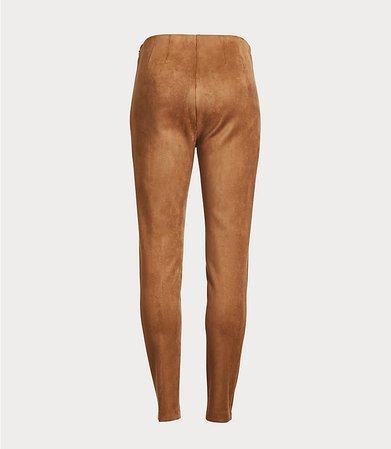 Petite Faux Suede Side Zip Leggings   LOFT