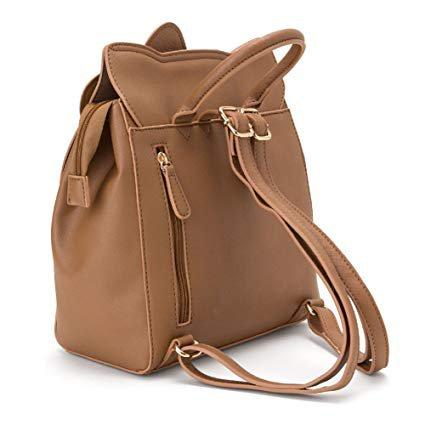 AmazonSmile | YOURNELO Women's Girl's Cute Hello Kitty PU Leather School Backpack Bookbag (Brown) | Kids' Backpacks