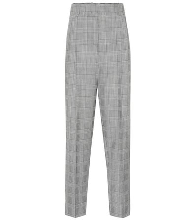 Plaid high-rise straight wool pants
