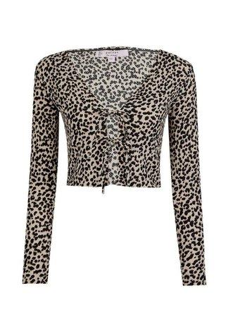 PETITE Beige Animal Print Cardigan Top | Miss Selfridge
