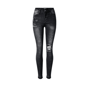 Skinny Jeans Ripped Grey PNG