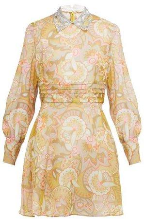 Floral Print Crystal Collar Georgette Mini Dress - Womens - Yellow Multi