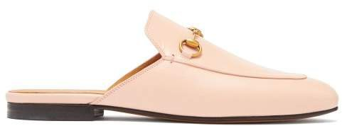 Princetown Leather Backless Loafers - Womens - Pink