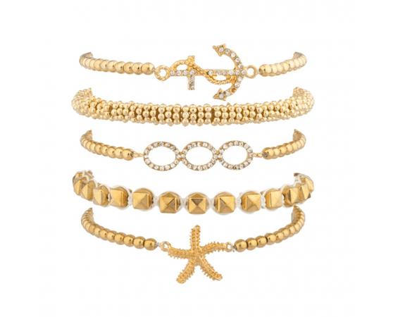 Nautical Starfish Anchor Beaded Arm Candy Friendship Bracelet Set - Bracelets