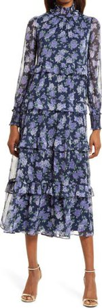 Karli Floral Long Sleeve Tiered Dress   Nordstrom
