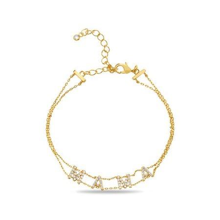 "Lesa Michele New York - Womens Cubic Zirconia ""Mama"" Double Stranded Bracelet in Yellow Gold-plated Brass - Walmart.com - Walmart.com"