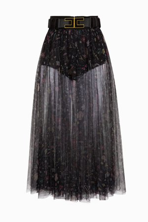 Floral print skirt with belt Elisabetta Franchi | Buy online