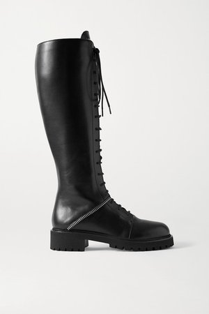 Nevada Leather Knee Boots - Black