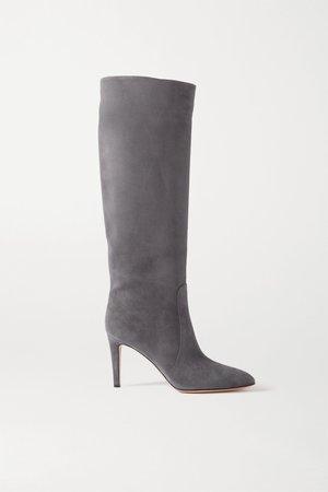 Dark gray 85 suede knee boots | Gianvito Rossi | NET-A-PORTER