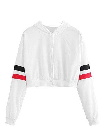 MakeMeChic Women's Casual Striped Crop Sweatshirt Hoodie White S at Amazon Women's Clothing store: