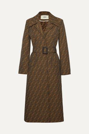 Brown Belted jacquard coat | Fendi | NET-A-PORTER