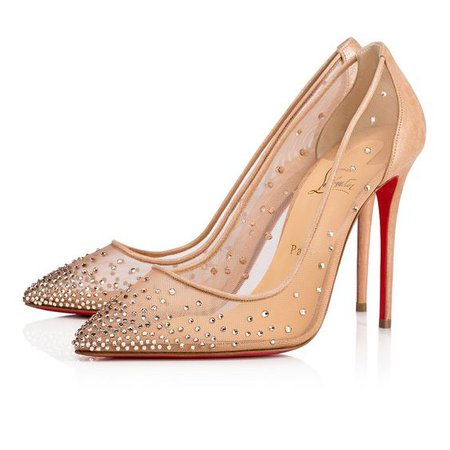 Follies Strass 100 Version Light Silk Suede Lame - Women Shoes - Christian Louboutin