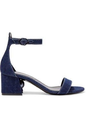 Nicholas Kirkwood | Miri faux pearl-embellished denim sandals | NET-A-PORTER.COM