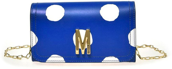 M Dot Leather Wallet on a Chain
