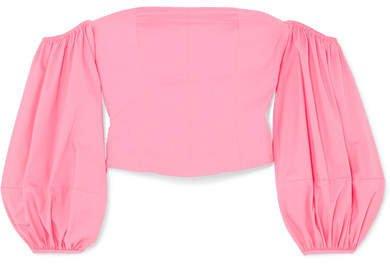 STAUD - Emma Off-the-shoulder Stretch-cotton Poplin Top - Bubblegum