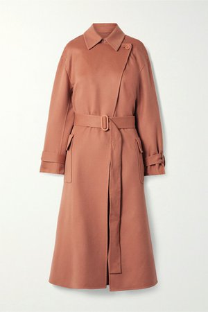 Belted Cashmere Trench Coat - Antique rose