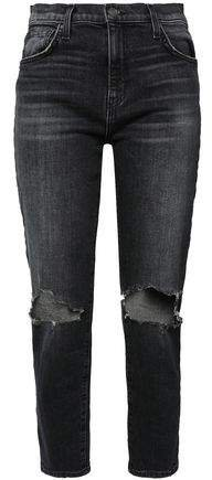 The Vintage Cropped Distressed High-rise Slim-leg Jeans
