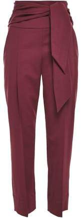 Belted Wool-blend Tapered Pants