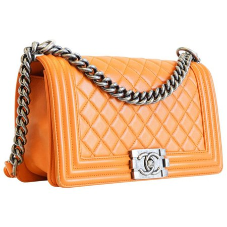 Chanel Old Medium Boy Bag in Orange with Silver Hardware For Sale at 1stdibs