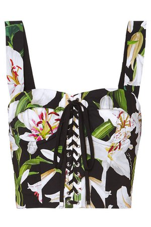 Dolce & Gabbana | Cropped floral-print cotton-blend poplin and mesh bustier top | NET-A-PORTER.COM