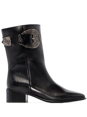 Loewe Western Buckle-Detailed Leather Boots | Farfetch.com
