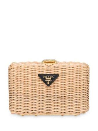 Prada Wicker Clutch Bag - Farfetch