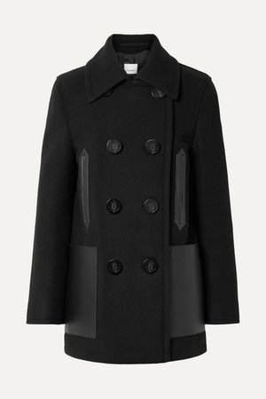 Burberry | Double-breasted leather-trimmed wool-blend coat | NET-A-PORTER.COM