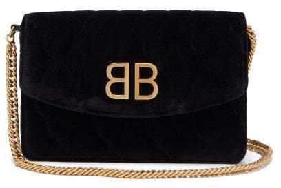 Bb Quilted Velvet Clutch - Womens - Black