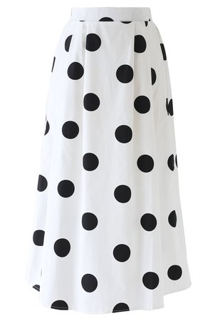 Contrast Polka Dots Print Midi Skirt in White - Retro, Indie and Unique Fashion