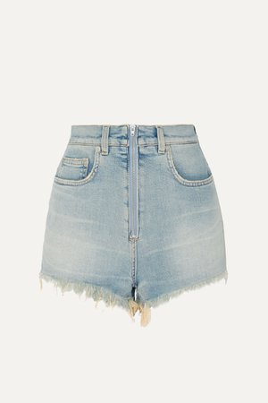 Blue Distressed faded stretch-denim shorts | Givenchy | NET-A-PORTER