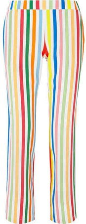 Striped Silk Crepe De Chine Pants - Blue