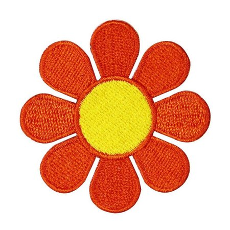 2 INCH Daisy Orange with Yellow Center Embroidered Iron On   Etsy