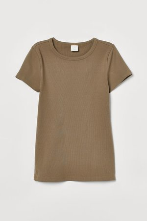 Ribbed Cotton T-shirt - Green