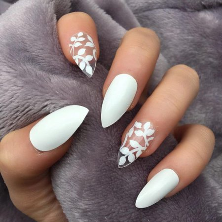 White Gloss Delightful Stiletto – Doobys Nails
