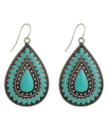 Teal and silverstone earings