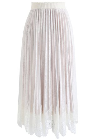 Chic Wish Asymmetric Lacy Hem Mesh Velvet Skirt in White - Retro, Indie and Unique Fashion