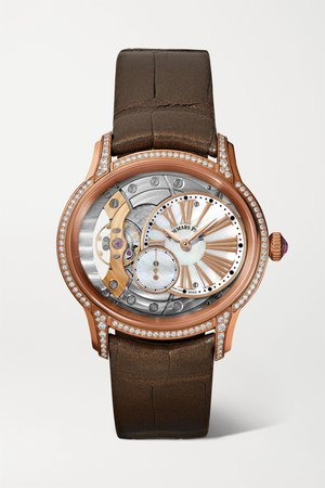 Rose gold Millenary 39.5mm 18-karat pink gold, alligator, diamond and mother-of-pearl watch | Audemars Piguet | NET-A-PORTER