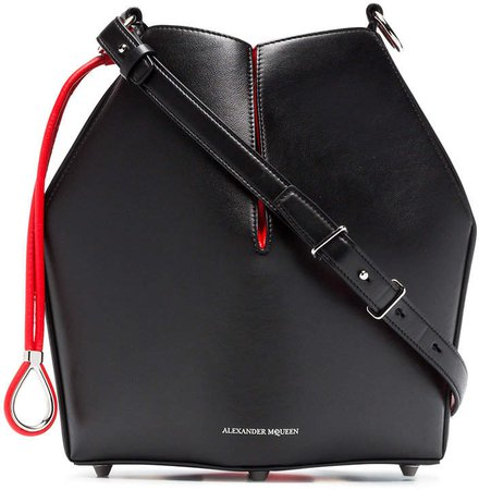 black and red Bucket leather bag