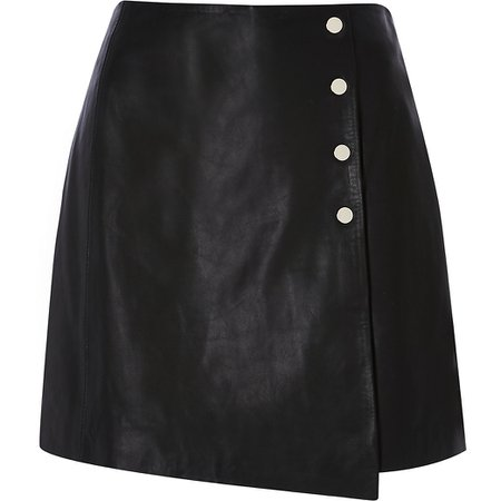 Black leather a line skirt | River Island