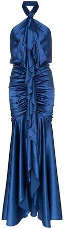 Silk Ruffled Halterneck Gown