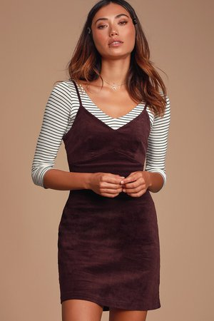 Cute Purple Mini Dress - Corduroy Dress - A-line Dress