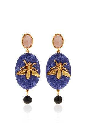 Oval Fly Stone Earrings by Oscar de la Renta | Moda Operandi